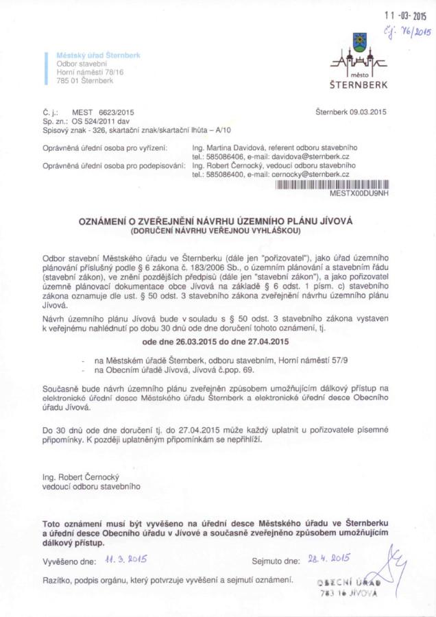 Oznámení o zveřejnění návrhu územního plánu Jívová